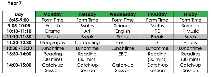 Year 7 Homelearning Timetable